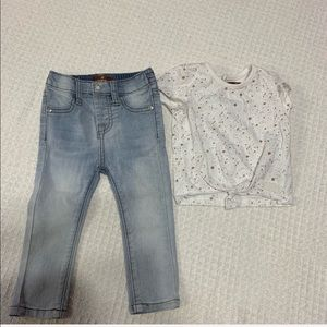 7 for all mankind girls 18 months jeans & shirt